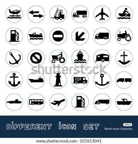 Sea, work and road transport and signs. Hand drawn sketch illustration isolated on white background