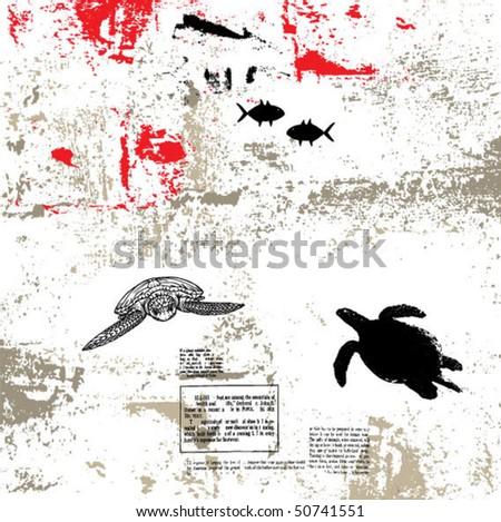 sea world grunge vector background