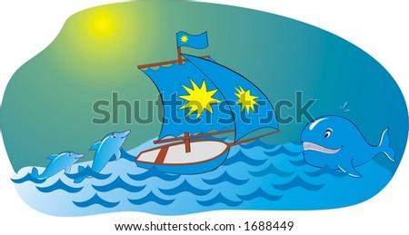 Sea yacht whale dolphin
