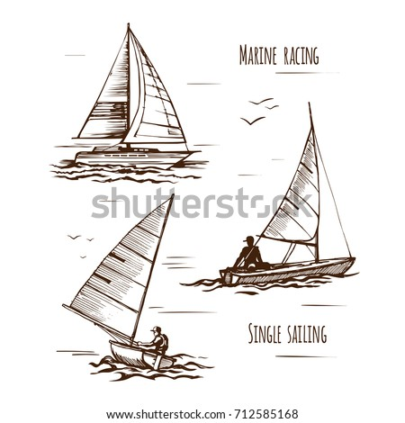Sea yachting single yachts. Active people. Extreme lifestyle. Travels. Competitions on the water. A set of boats and elements. A vector hand drawn sketch.