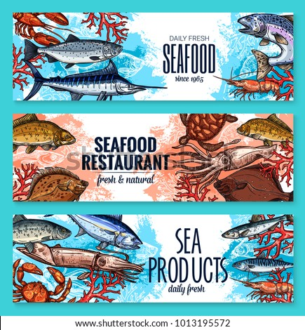 Seafood and fresh fish restaurant or fishery product market sketch banners template. Vector sea food squid, turtle or tuna and shrimp, octopus or lobster crab and trout, ocean sardine and herring ストックフォト ©