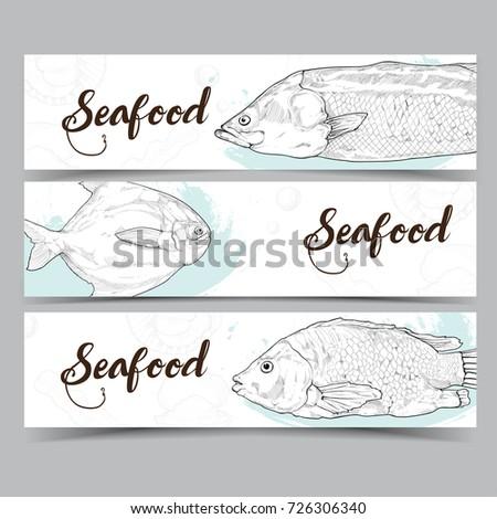 Seafood banner. restaurant menu background. Vector illustration