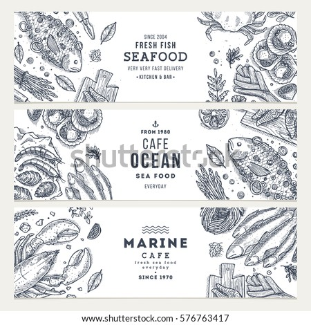 Seafood banner template set. Fish restaurant horizontal design collection. Engraved style illustration. Vector illustration