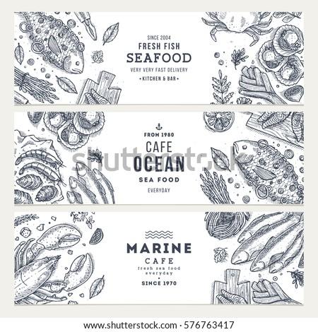 Seafood banner template set. Fish restaurant horizontal design collection. Engraved style illustration. Vector illustration