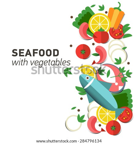 seafood design set infographic