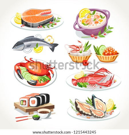 Seafood festive dishes set with salmon fish, lobster, crab, salmon soup, sushi oysters, tartlets