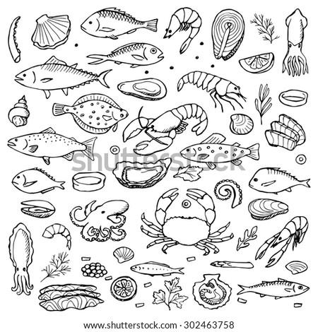 Seafood hand drawn doodle elements. Vector illustration for backgrounds, web design, design elements, textile prints, covers, posters, menu #302463758