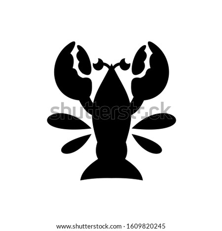 Seafood icon. Lobster icon in black color.