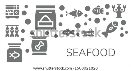 seafood icon set 11 filled