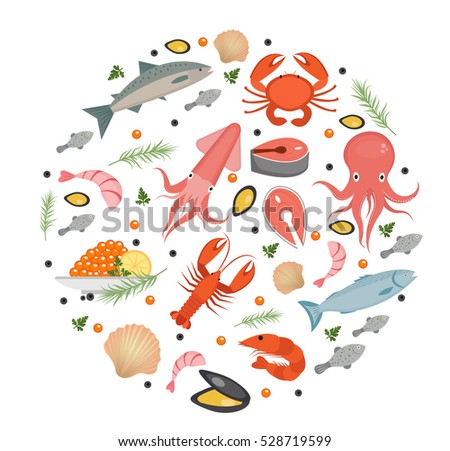 seafood icons set in round