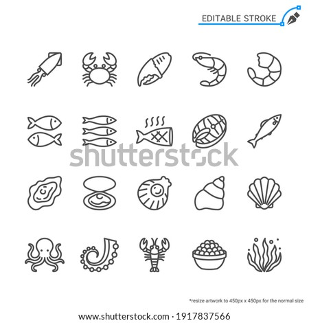 Seafood line icons. Editable stroke. Pixel perfect.