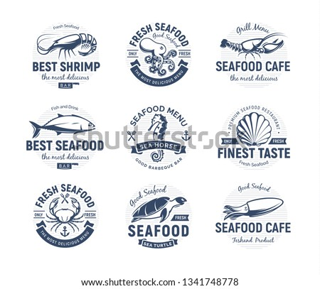 Seafood logo set. Sea creatures, fishing or restaurant emblems. Retro style logo template. Modern emblem idea. Concept design for business. Isolated vector illustration on white background.