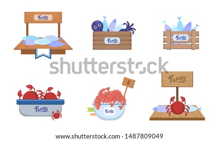 Seafood Market Design Elements Set, Freshness Fish and Sea Products on Counters Vector Illustration