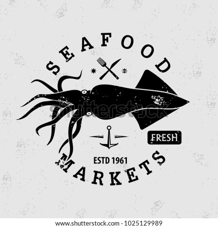 Seafood market logo with Squid. Vintage badge design. Vector illustration.