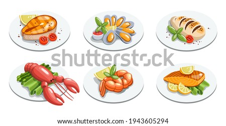 Seafood meals set in cartoon style. Squid, shrimp, calamari, fish, mussels with lemon, green salad and tomatoes on plate. Isolated vector illustration.
