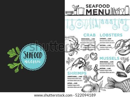 seafood menu placemat food