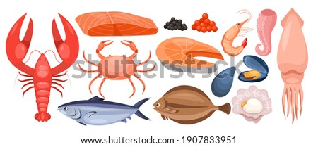 Seafood menu vector illustration set. Cartoon raw marine sea or ocean food collection with tuna trout salmon flounder fishes, lobster shrimp caviar mussel squid octopus tentacles isolated on white