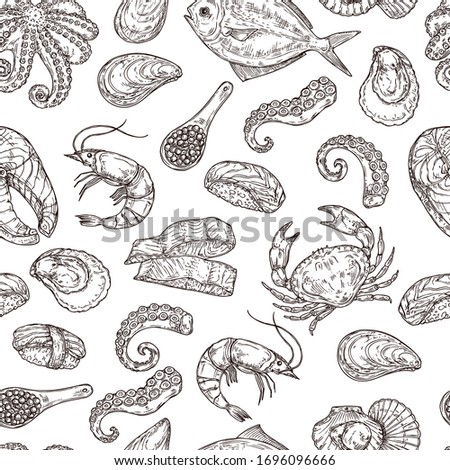Seafood pattern. Hand drawn ink sea life. Sketch japanese food, engraving vintage ocean ingredients. Salmon fish squid vector background. Seafood restaurant, mollusk and drawn fish illustration