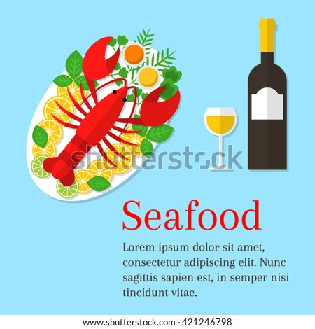 seafood platter vector flat