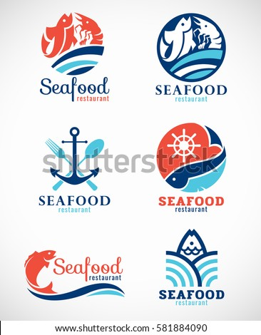 Seafood restaurant  and fish logo vector set design