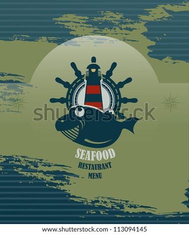 Seafood restaurant menu, vector illustration