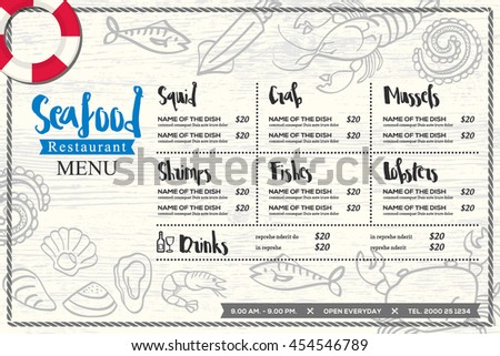 seafood restaurant placemat menu design vector template with hand drawn graphic on wood texture background
