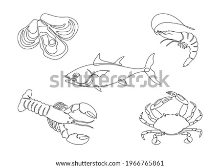 Seafood set in one line art style. Lobster, fish, crab, shrimp, oysters single line drawing. Restaurant menu icons, vector illustration Stock foto ©