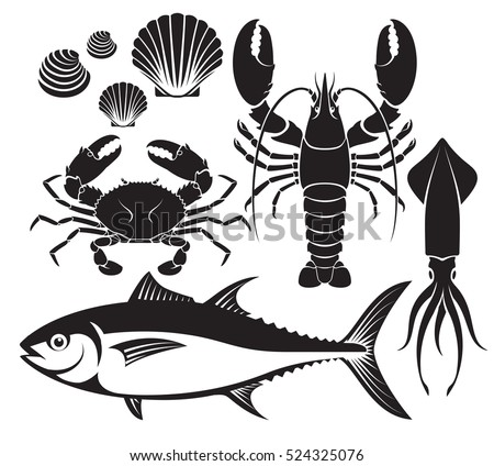 seafood silhouette set lobster