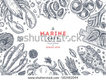 Seafood top view illustration. Fish restaurant table background. Engraved style illustration. Hero image. Vector illustration #582482044