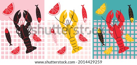 Seafood with lobster, fish and lemon cartoon illustration. Seafood for flyers, posters, menu. Abstract flat vector illustration. Good food set banner. Cartoon seafood still life.