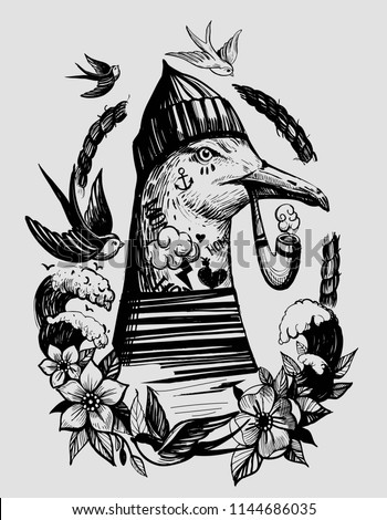 Seagull with a smoking pipe in a sailor suit. Prints for T-shirts. Tattoo sketch.