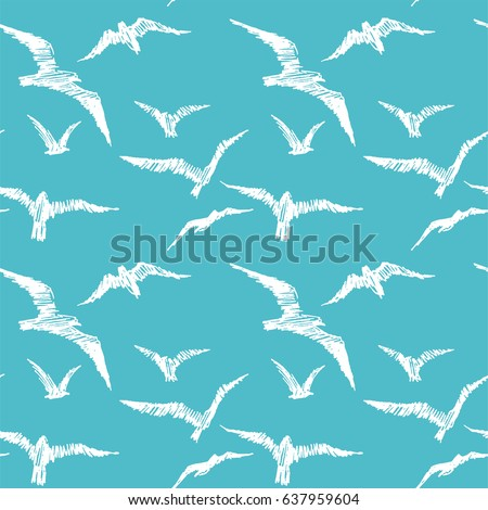 seagulls vector seamless