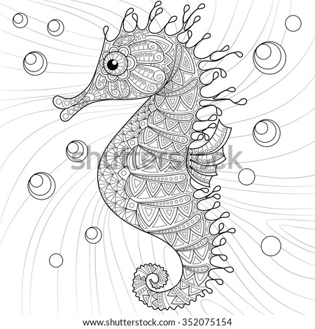 Seahorse. Adult antistress coloring page. Black and white hand drawn doodle for coloring book