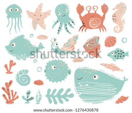 Seahorse, octopus, crab, snail, fugue fish, starfish, whale, dolphin, jellyfish baby cute illustration. Sweet sea animals. Cool ocean illustration for nursery t-shirt, kids apparel, child design.