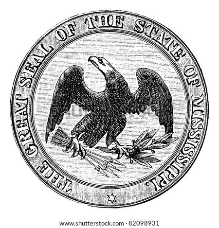 Seal of the State of Mississippi, vintage engraved illustration. Trousset encyclopedia (1886 - 1891).