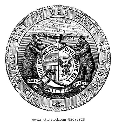 Seal of the State of Missouri, vintage engraved illustration.  Trousset encyclopedia (1886 - 1891).