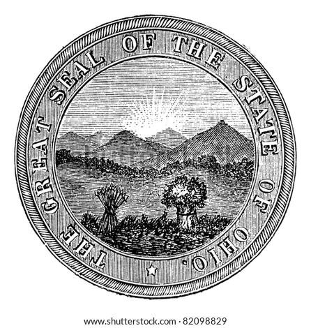 Seal of the State of Ohio, vintage engraved illustration. Trousset encyclopedia (1886 - 1891).