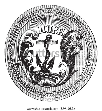 Seal of the State of Rhode Island, USA ,vintage engraving. Old engraved illustration of Seal of the State of Rhode Island isolated on a white background. Trousset encyclopedia (1886 - 1891).