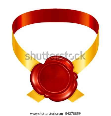 Seal wax with ribbons, vector