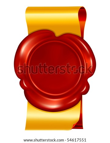 Seal wax with ribbons, vector