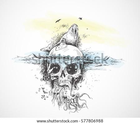 seal with underwater skulls