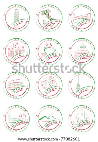 Seals and stamps of Italian cities with their main sights.