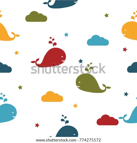 Seamles vector pattern. Vector background with whales. Sea pattern. Kids pattern.