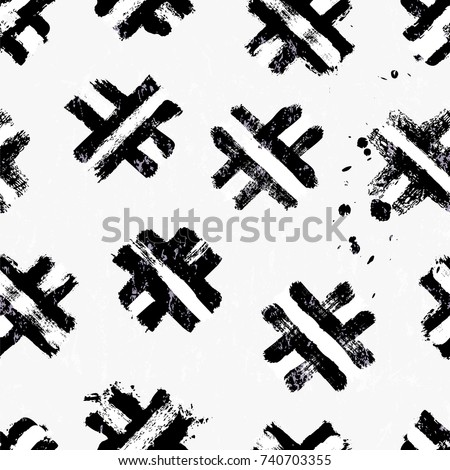 seamless abstract background pattern, with brush strokes and splashes, black and white
