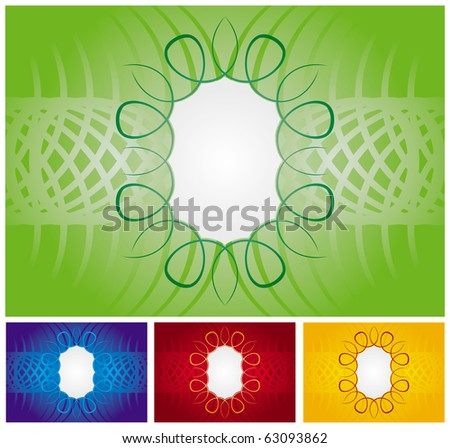 Seamless abstract background set with frame decoration