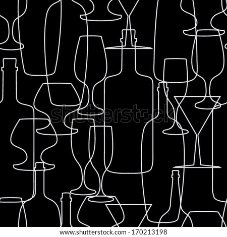 seamless abstract background with wine bottles and glasses