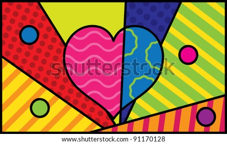 Seamless abstract colorful background with heart and circles, vector illustration