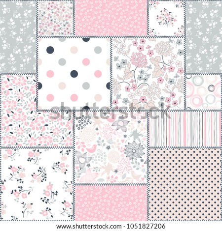 Seamless abstract colorful patchwork pattern from flowers in folk style. Vintage hand made quilt. Hand drawn background in pastel colors. Vector illustration