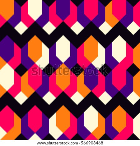 Seamless abstract ethnic pattern.Geometric background with stripes, squares, rhombuses and chevrons.