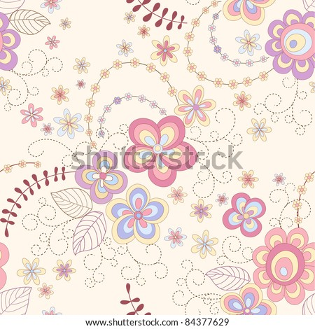 seamless abstract    floral background - stock vector